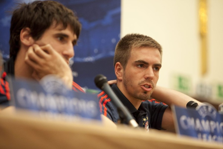 Javier Garcia and Philipp Lahm attends Press Conference before the UEFA Champions League Round of 4, 1st Leg Match between Real Madrid vs FC Bayern Munich at the Hotel Intercontinental in Madrid, Spain on 2014/04/22. EXPA Pictures © 2014, PhotoCredit: EXPA/ Alterphotos/ CARO MARIN