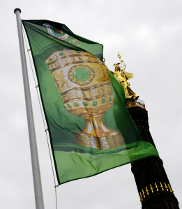The German Cup flag - the match will be played at the Olympic Stadium in Berlin -- photo: dpa