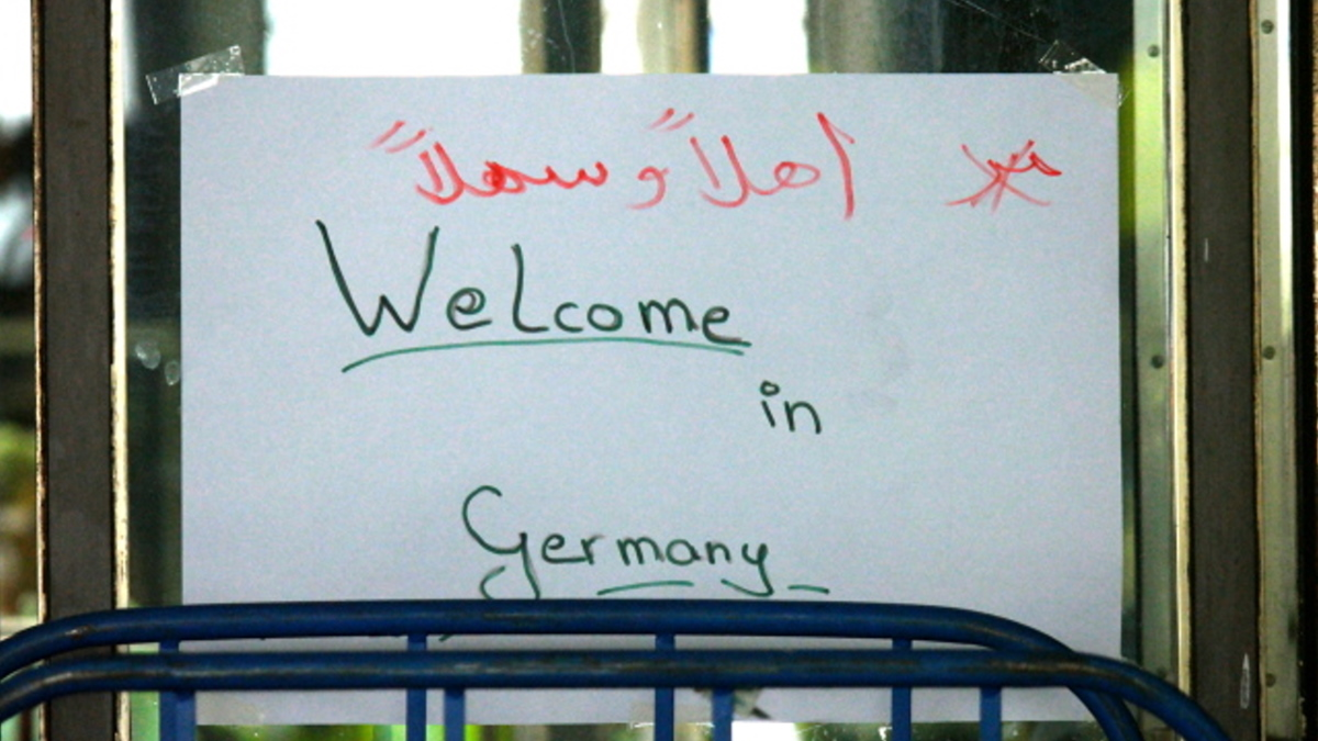"""Handmade """"Welcome to Germany"""" sign in the Munich train station -- munichFOTO"""