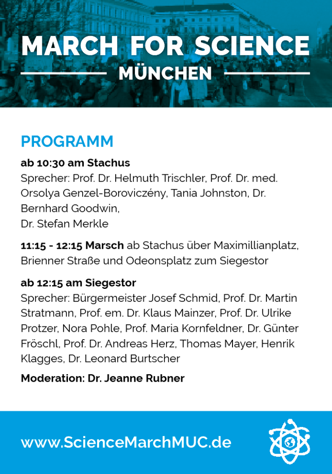 Schedule of Speakers for the Munich March for Science
