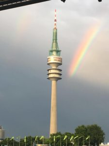 Double Rainbow over Olympiapark -- photo: Bobbi Dunn
