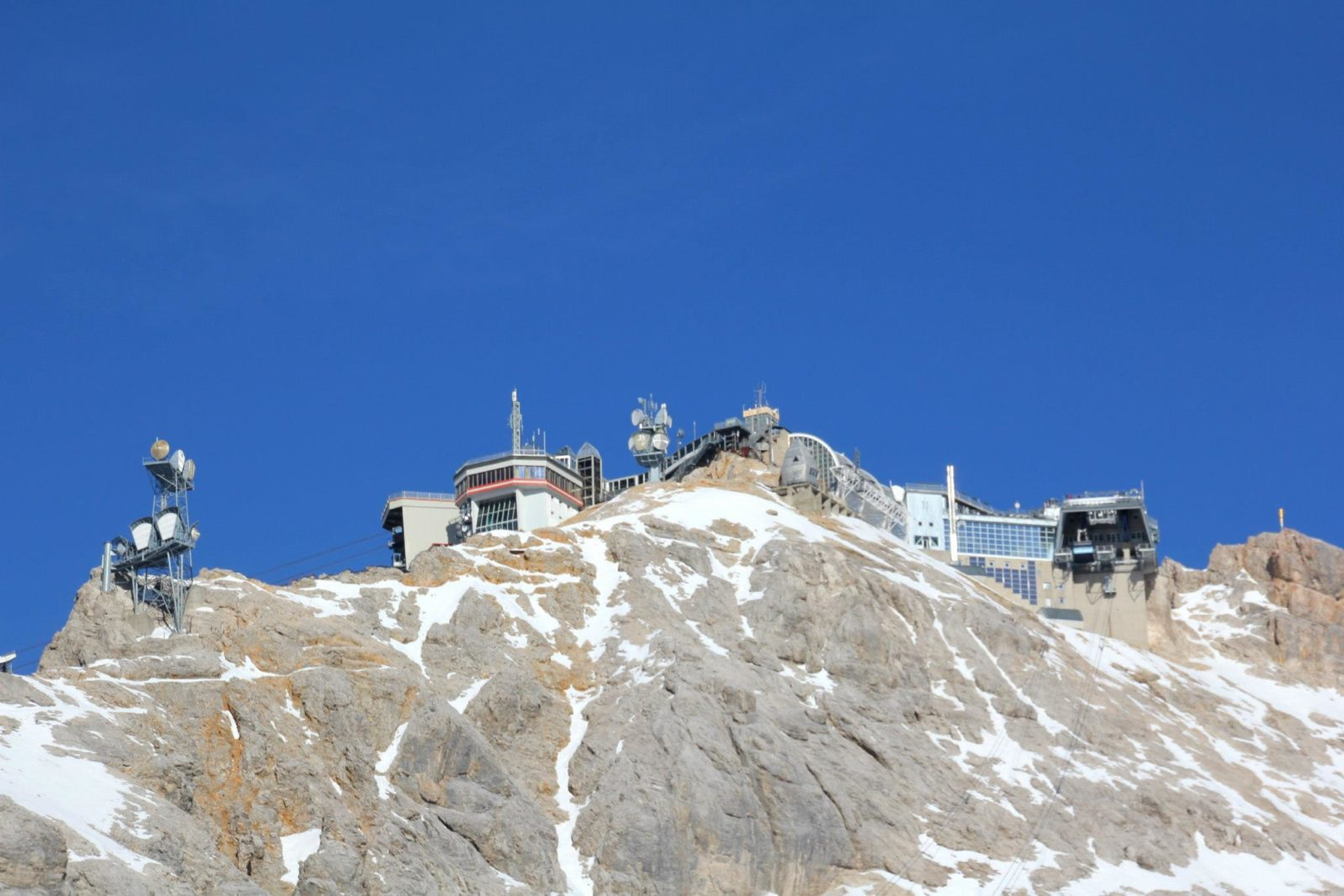 The peak of the Zugspitze looking from the SonnAlpin level, where the train terminates -- munichFOTO