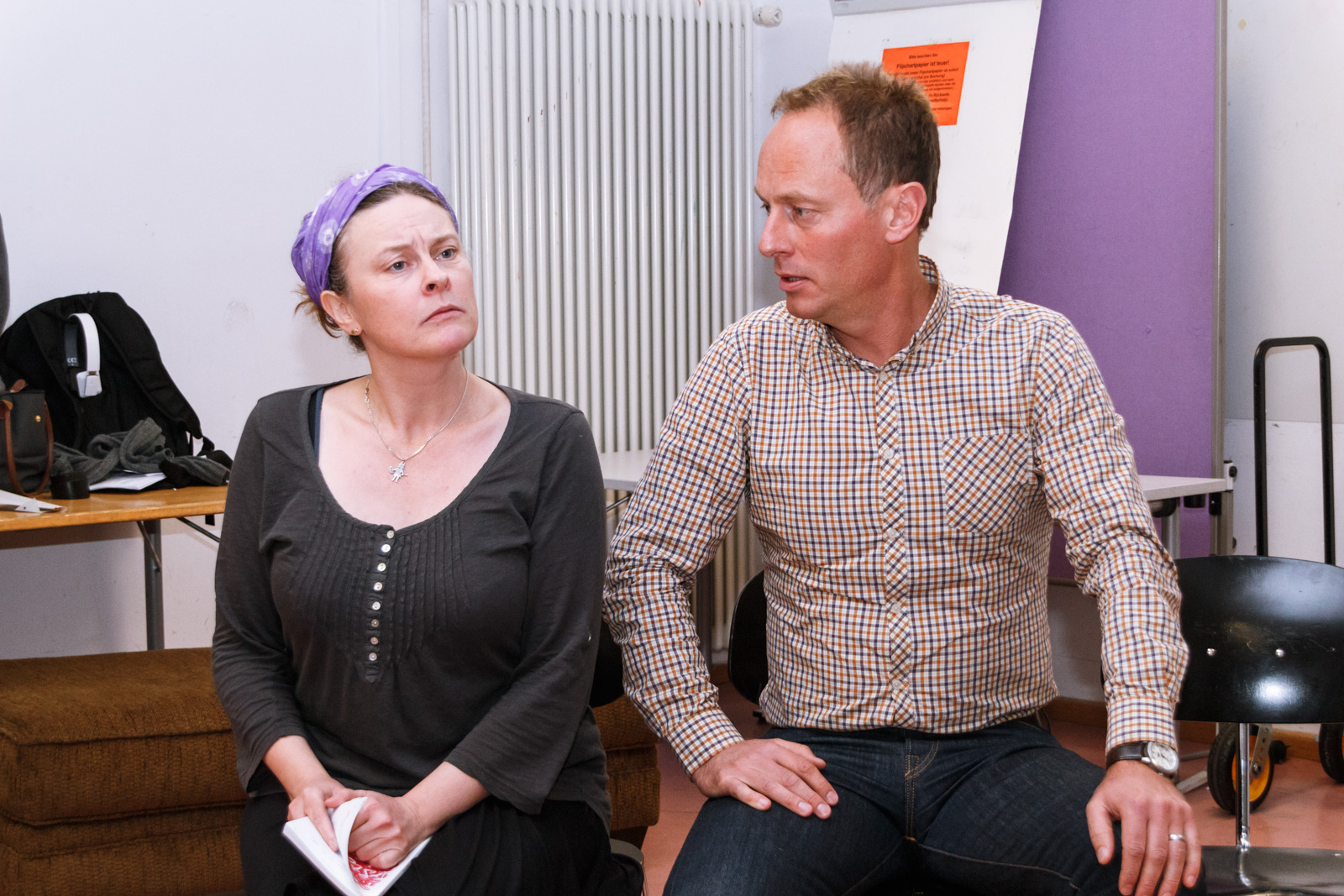 Esther Gilvray and Dan Marsh prepare for their roles -- photo: Entity Theatre