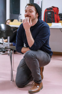 Jaed Witbeck in rehearsal of the Entity Theatre production of Stage Kiss -- photo: Entity Theatre