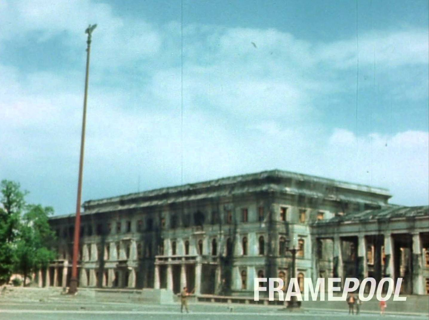 The bombed out Führerbau in 1945 -- screenshot from Framepool