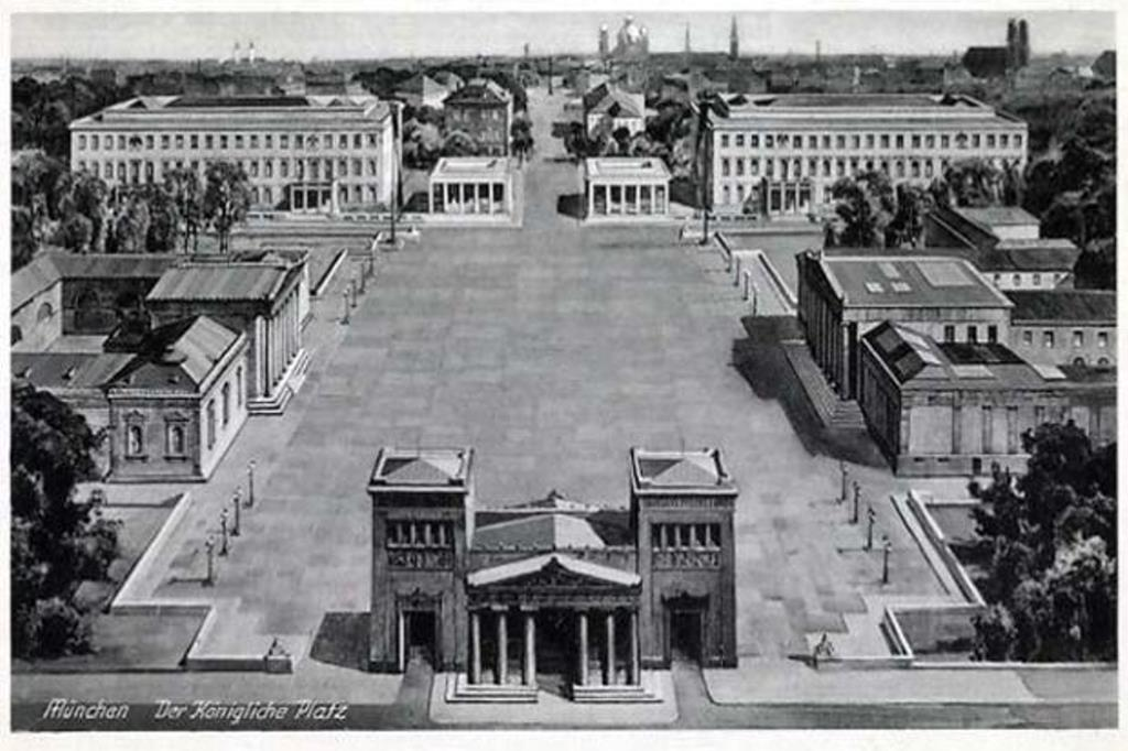 Königsplatz in 1938 looking toward Karolinaplatz. The meeting site is in the upper left corner, now the music school. In 1988 the granite paving stones that covered the square were taken up and the center road was restored. -- archive postcard