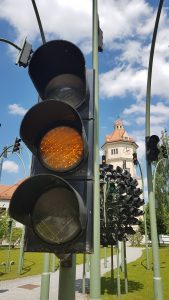 Traffic light art at the SWM complex -- munichFOTO